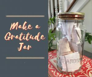 Gratitude Jar, jar with slips of paper