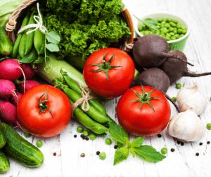 several fresh vegetables