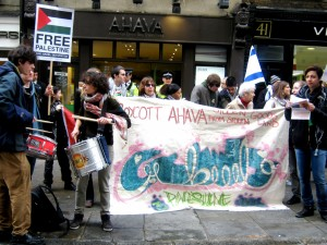 "A protest outside of ""Ahava"" beauty care store."