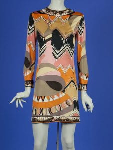 long sleeve mini dress printed with black, white, orange, pink, tan and gray abstract motifs