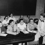 With students in 1957