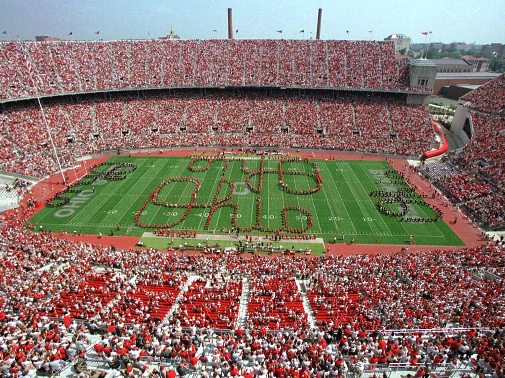 The Ohio State University Marching Band doing script ohio in Ohio Stadium