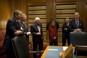 John Paul Stevens with fellow Supreme Court Justices, President Obama, and Vice-President Obama in 2009