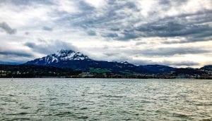 Mountain against a lake