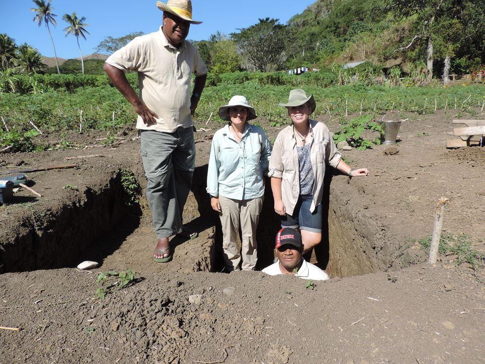 End of excavation photo. Ratu Jone Balenaivalue, Julie Field, Rebecca Hazard, and Ilaitia Kuresaru.