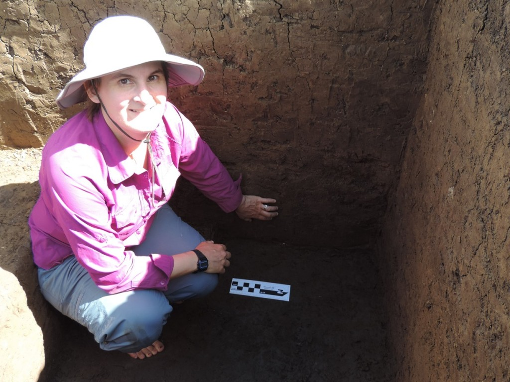 Julie Field and profile at Qaraqara, showing iron/mineral tube stains from dalo roots.