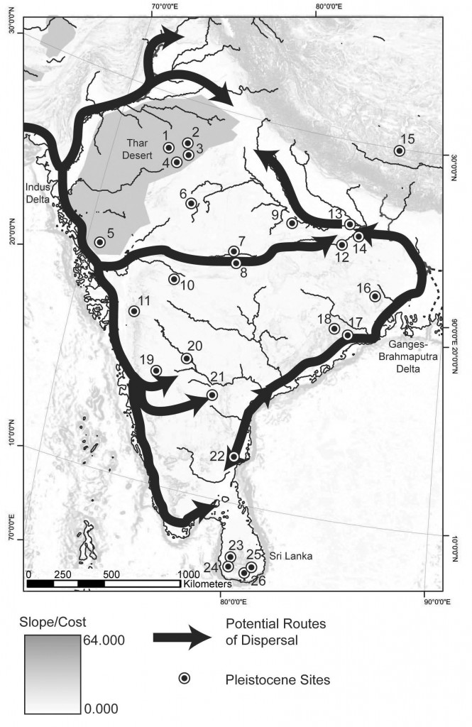 Routes of the Southern Dispersal;  routes through South Asia.
