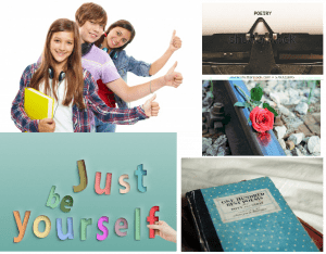 """collage: students, composition notebook, typewriter, rose, """"be yourself"""" sign"""