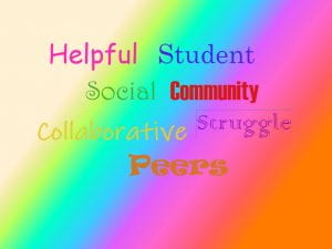 Collage of words: Helpful, Students, Social, Community, Collaborative, Struggle, Peers