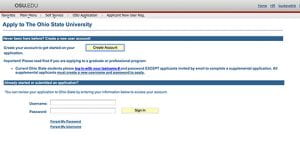Grad Application sign in page
