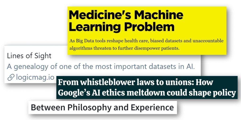 Four headlines: Medicine's Machine Learning Problem, From Whistleblower laws to unions, Between Philosophy and Experience, Lines of Sight
