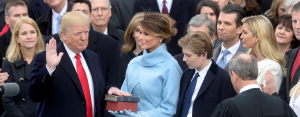 Photo of President Trump taking the oath of office