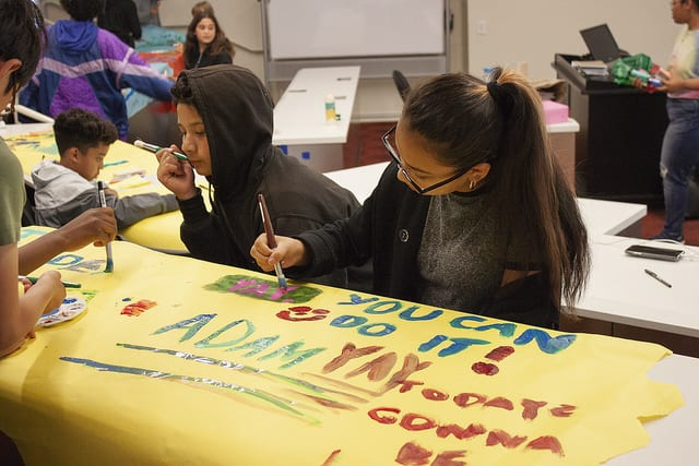 Students working on a creative arts project