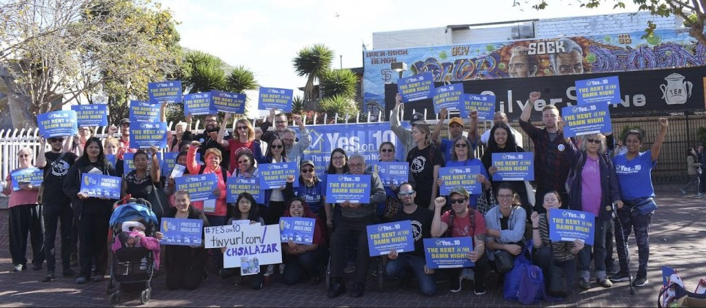 """Crowd organized around efforts for """"Yes on Prop 10"""" campaign for tenant's rights"""