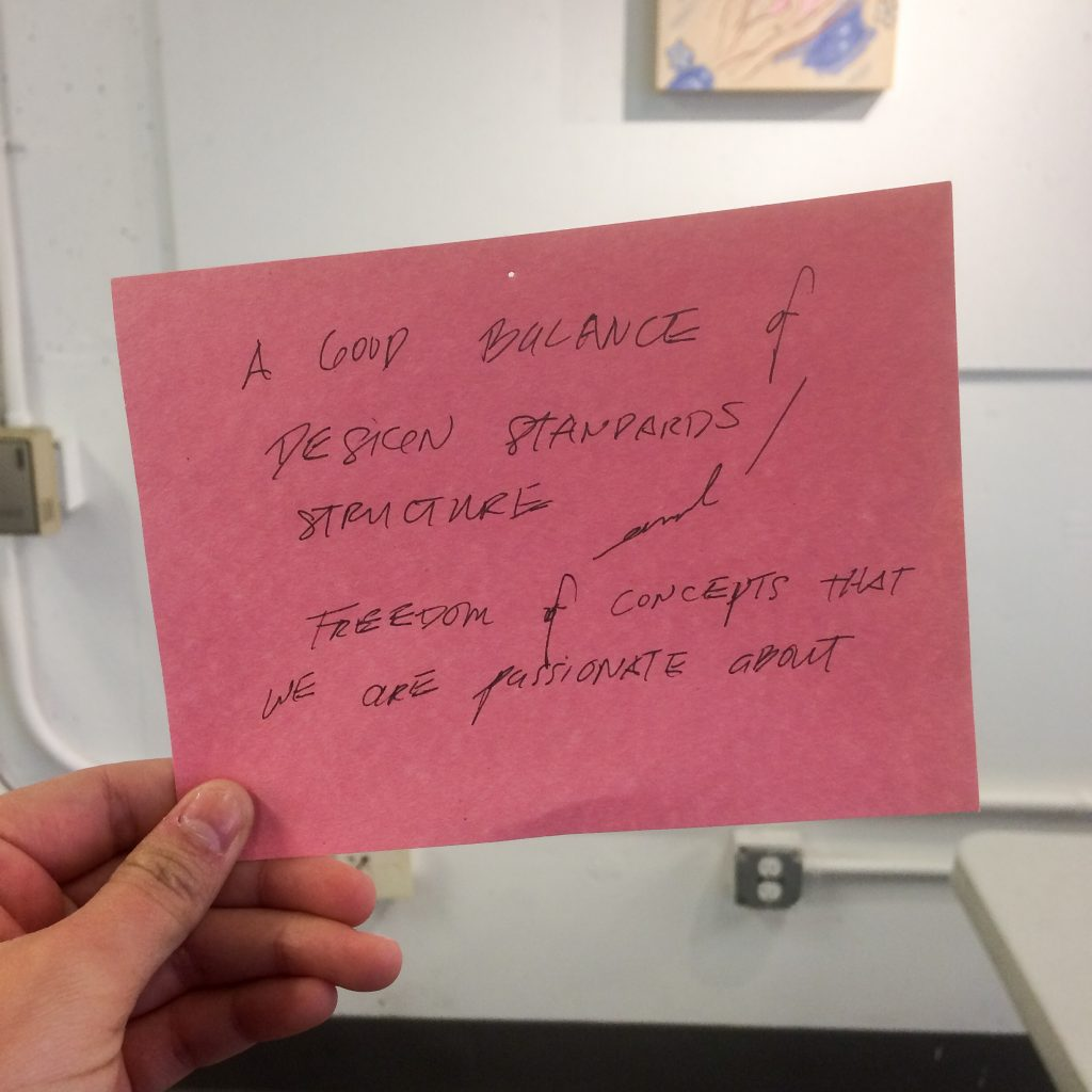 photo of quote by USFCA Design student