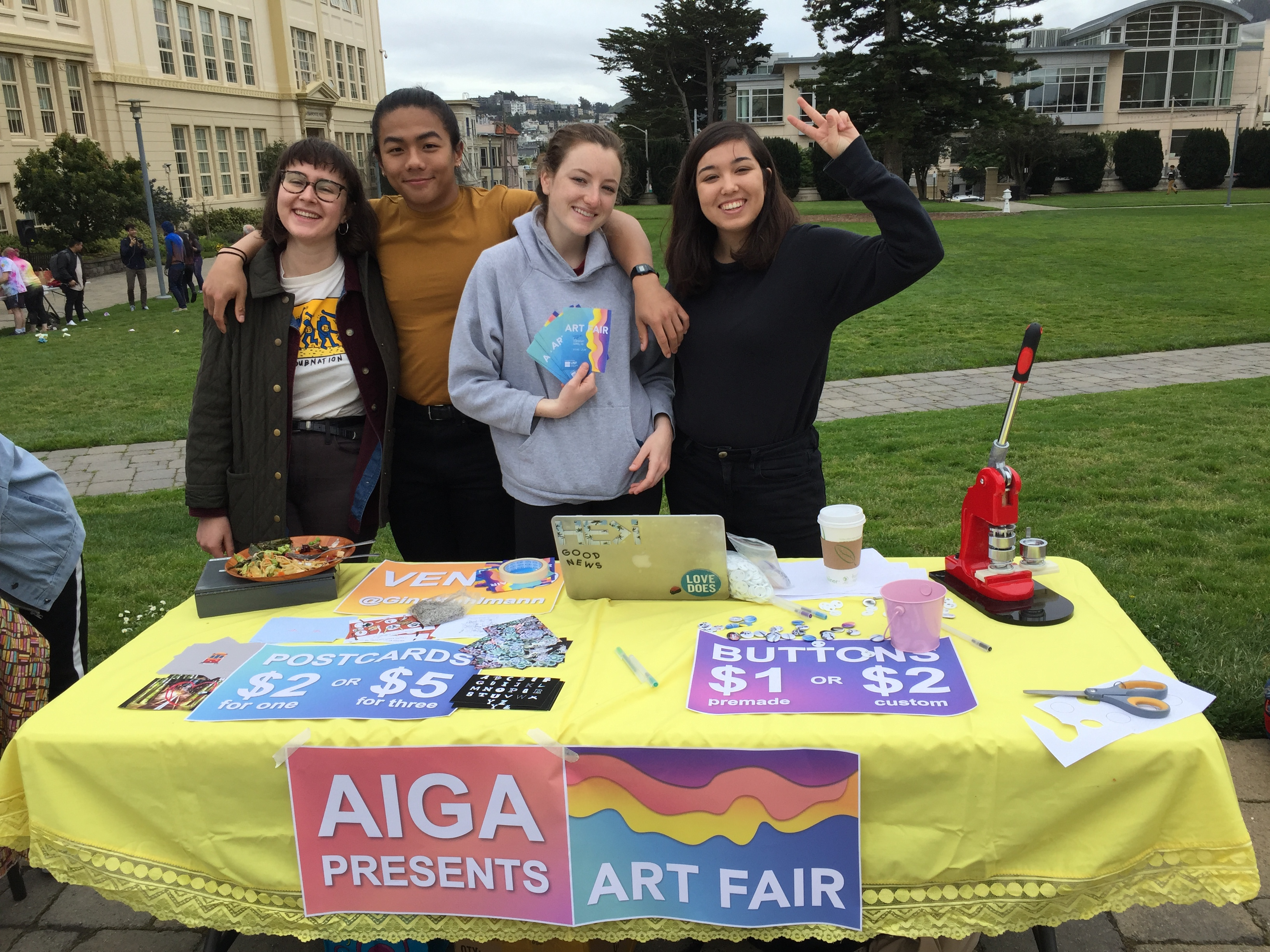 Members present work at the first AIGA art fair