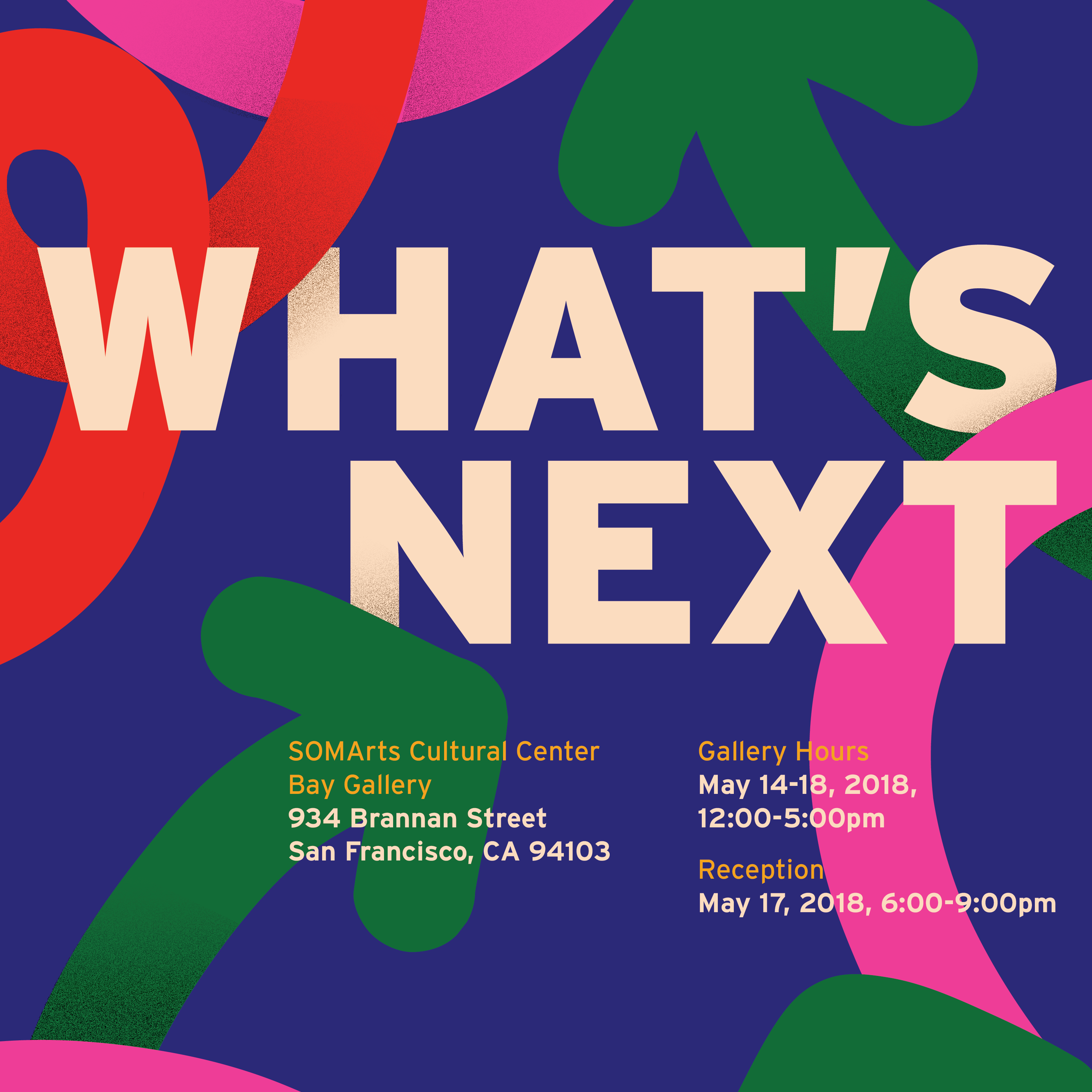 What's Next Reception Promotional Material Designed with colorful arrows by Students