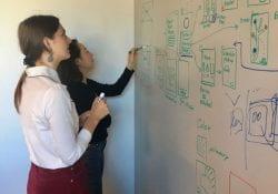 Students working on design sprint at Adobe Creative Jam