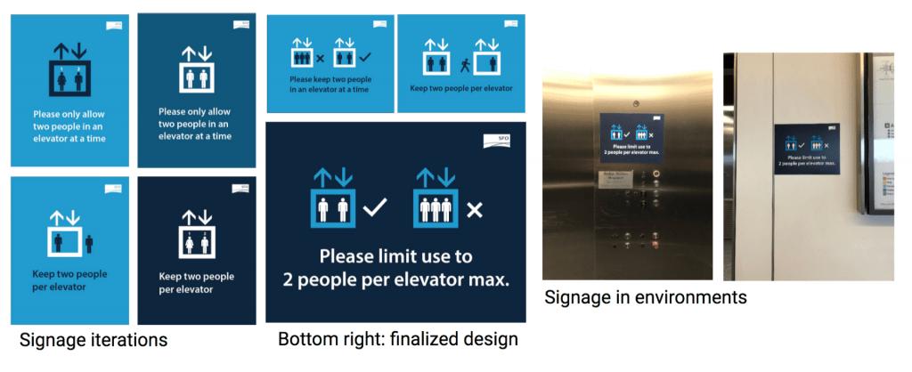 COVID-19 elevator signage at SFO
