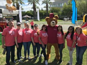 USF Sacramento BSN students at the 2nd Annual Shriners Walk For Love posing with mascot