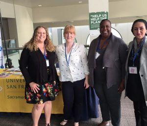 2018 State of Reform Health Policy Conference. Christina from USF Sacramento with Master of Public Health Students volunteering at event.