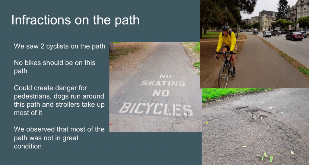 slide showing photos of the path and users, indicating unauthorized use and poor pavement conditions