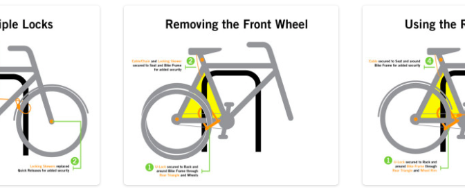 diagram illustrating best practices for bike locking