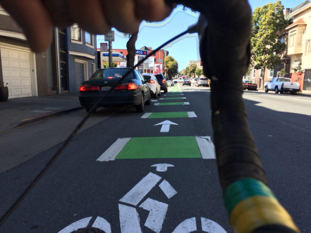 green painted bike lane