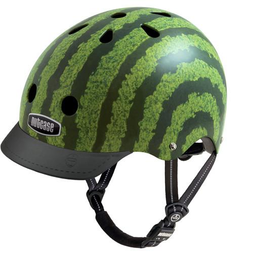 bike helmet designed to resemble a watermelon