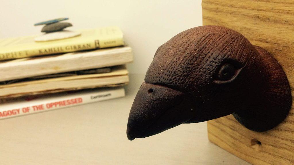Prehistoric bird sculpture