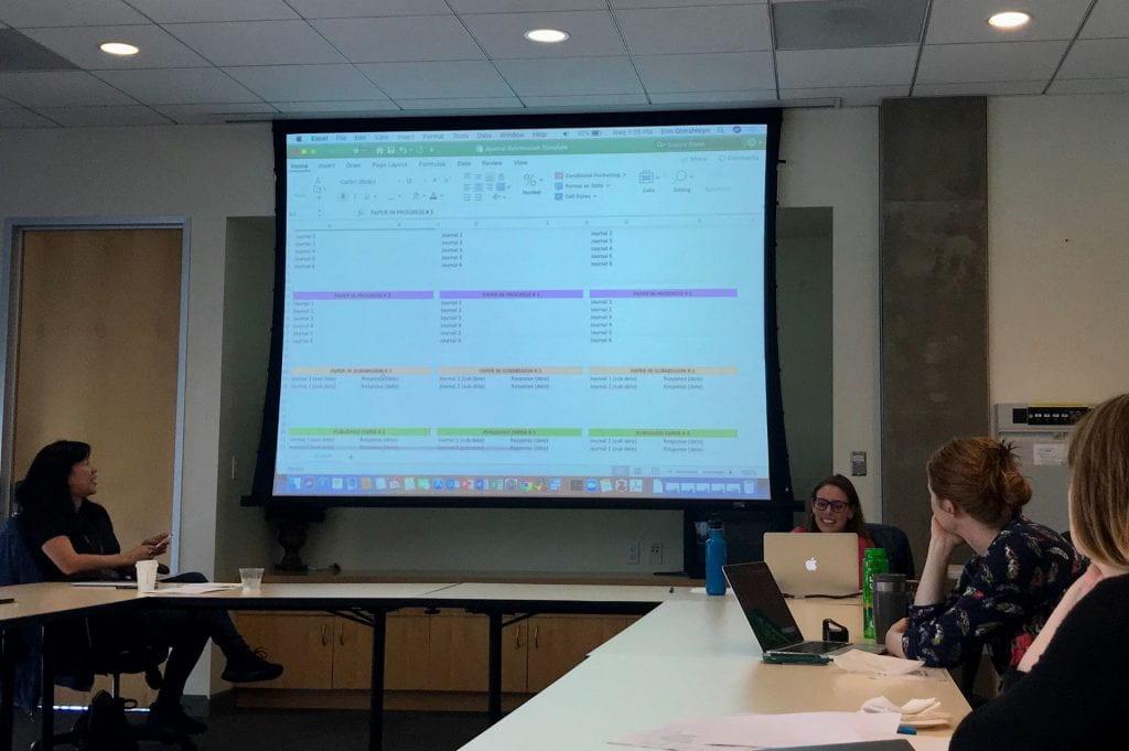 Presenters show spreadsheet