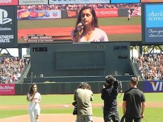 COMS major Jenna singing the national anthem!