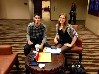 JT Talarman and Sabrina Gunn prepping for their presentation
