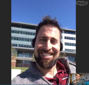 COMS graduate Nick pictured outside his job skyping with me for this interview!
