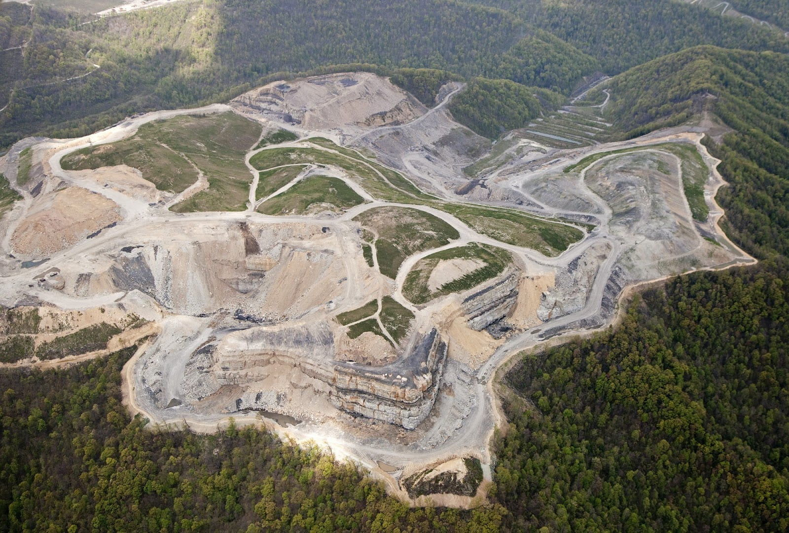 Mountaintop removal coal mining, aerial photograph.