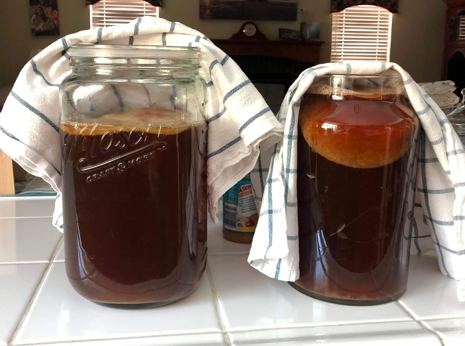 Two jars of kombucha with towels on the top.