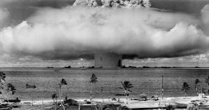 Mushroom cloud from nuclear weapon tests conducted by the United States at Bikini Atoll