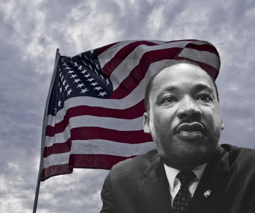 Flag of the United States flying with a black and white photo of Martin Luther King, Jr. in bottom right corner, partially covering the flag.