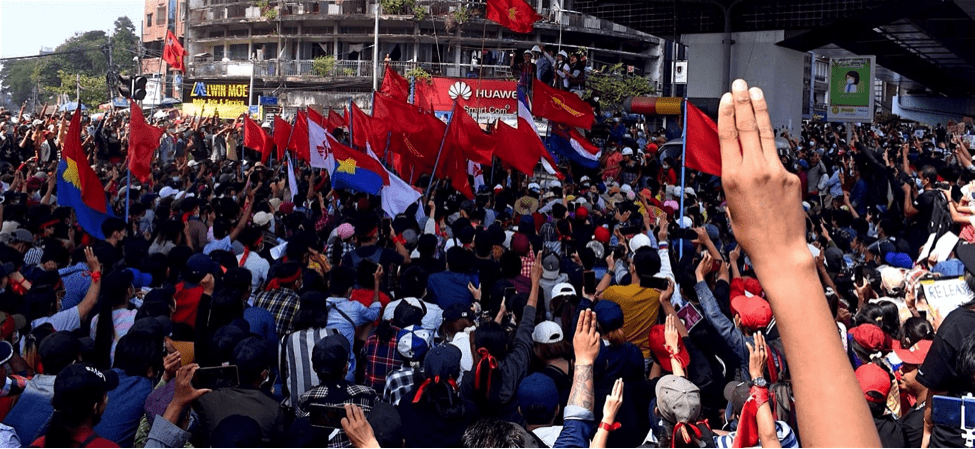Nonviolent protests against the Myanmar junta, symbolized by the three-finger gesture