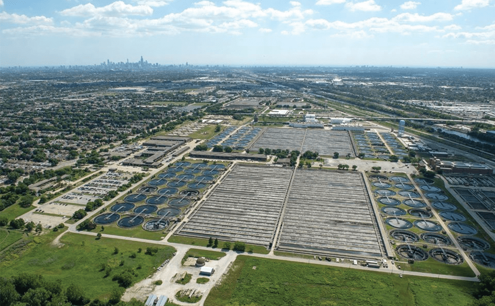 Aerial view of Chicago's water tunnels