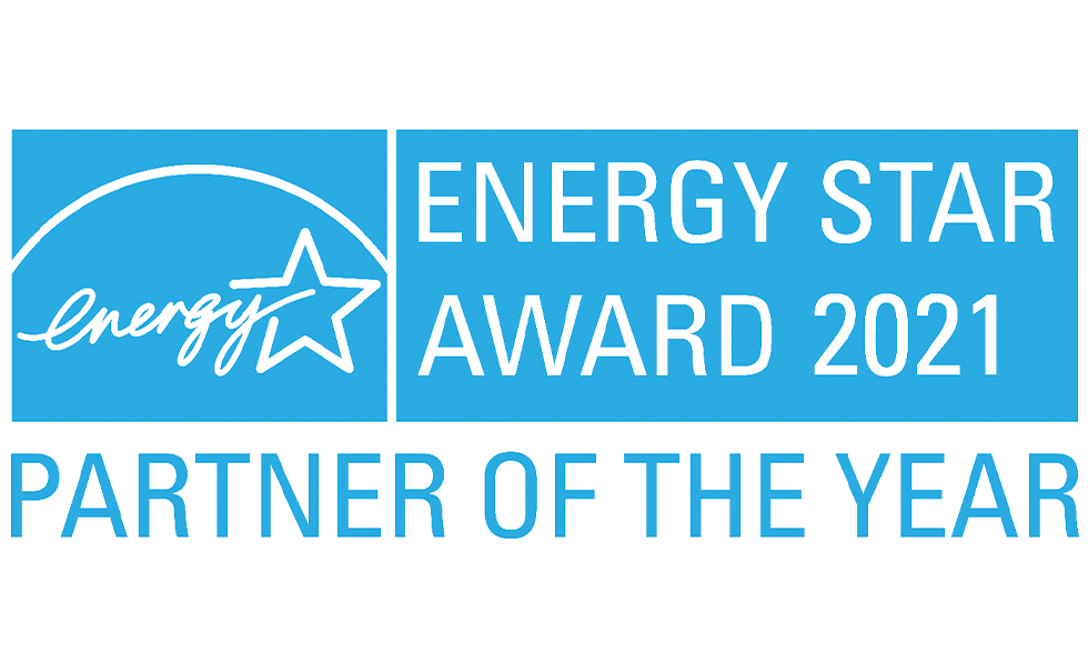 Blue and white image with text reading Energy Star Award 2021, partner of the year