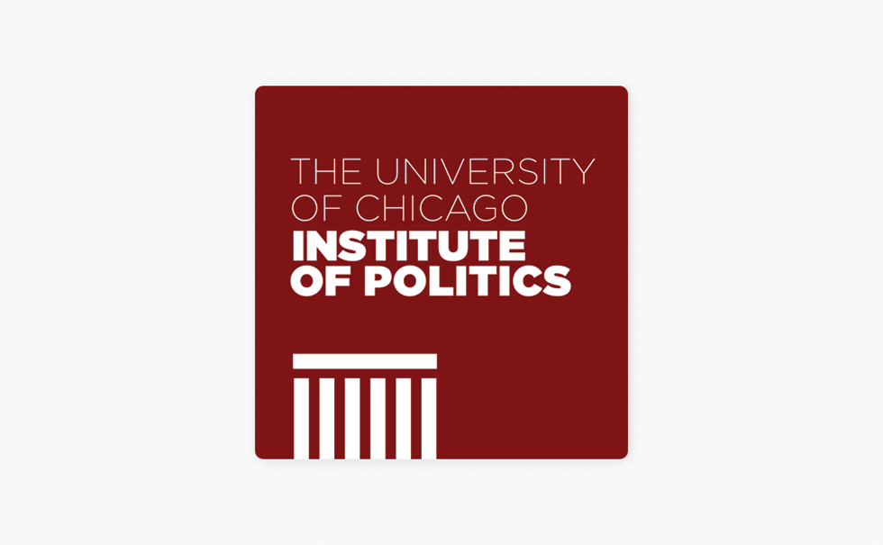 Institute of politics logo in maroon with white letters