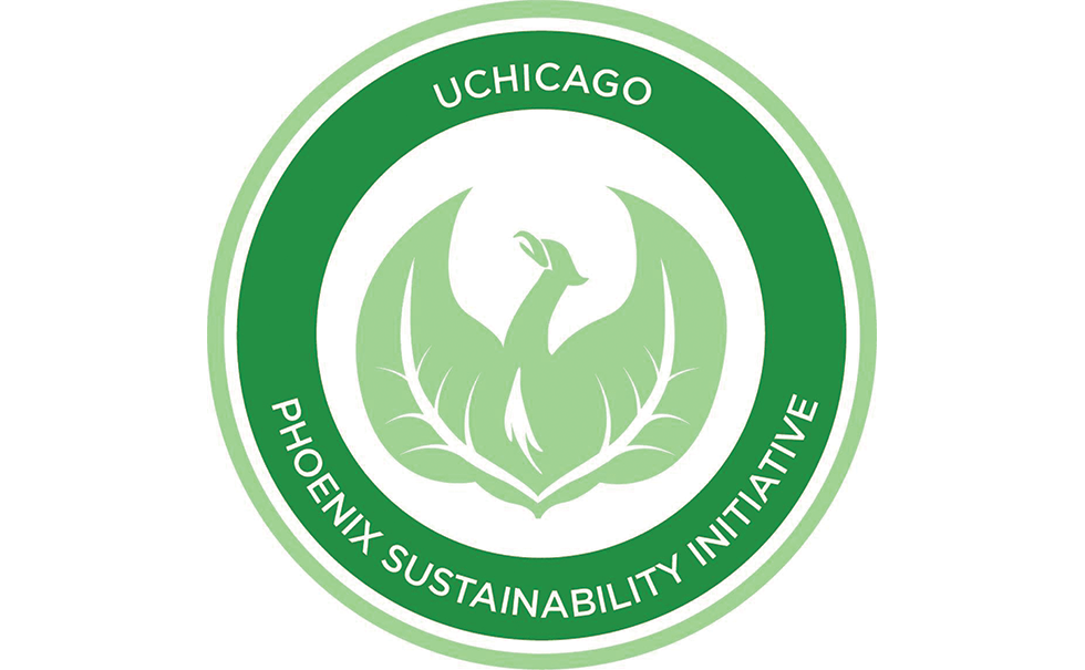 Phoenix Sustainability Initiative logo in green with phoenix graphic and leaves in place of wings