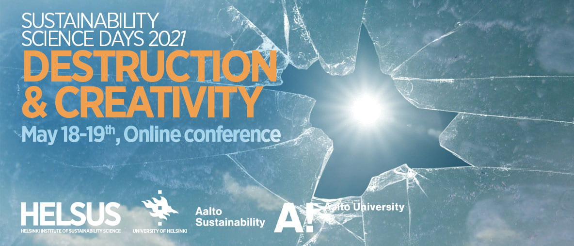 Image of cracked glass with sun showing through and title of Sustainability Science Days conference