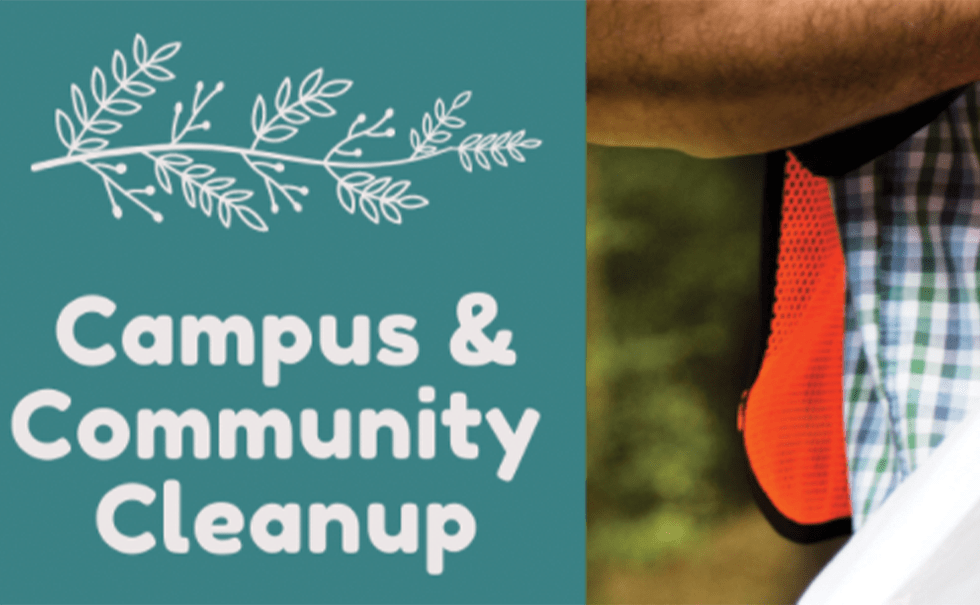 Image with blue background and white text that says Campus and Community Cleanup