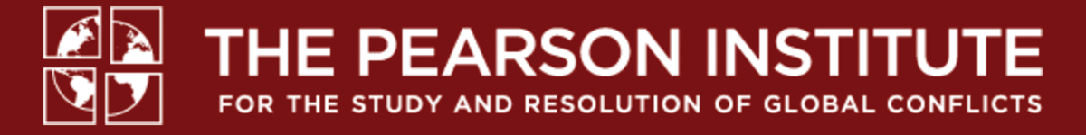 Maroon banner with The Pearson Institute for the study and resolution of global conflicts in white text
