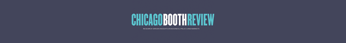 Blue banner with Chicago Booth Review logo