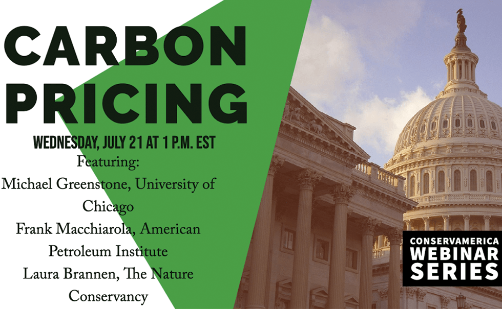 Advertisement for Carbon Pricing webinar from ConservAmerica that shows speakers and date
