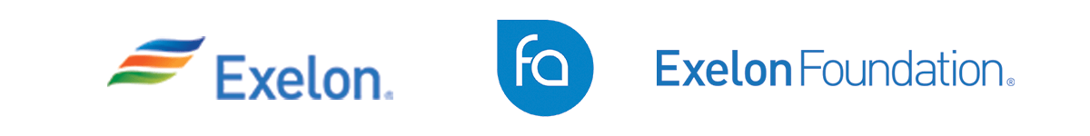 Logos for Exelon, Freshwater Advisors, and Exelon Foundation
