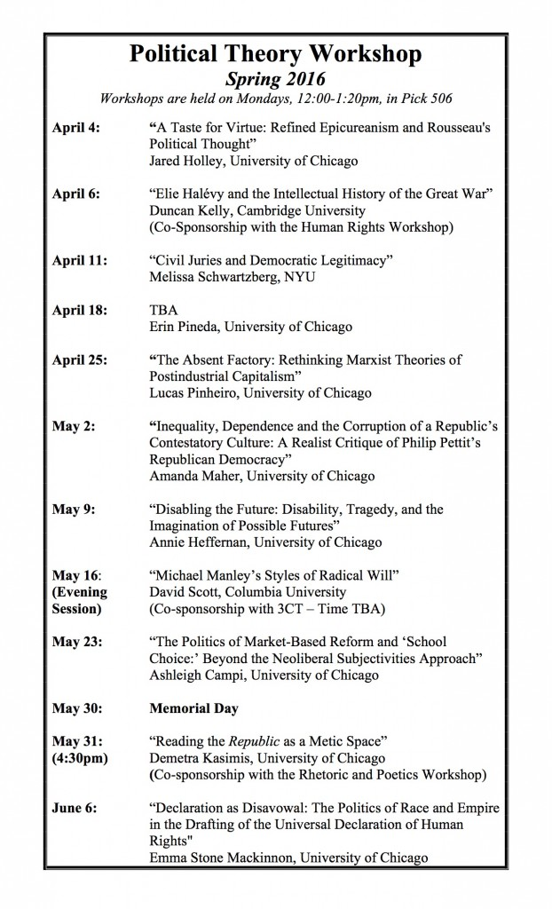 Spring 2016 Schedule-Political Theory Workshop